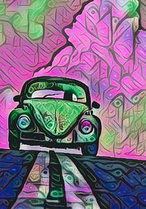 VW Käfer in pinken Wolken