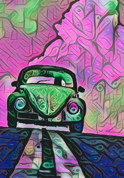 VW Käfer in pinken Wolken von Michael Ladenthin