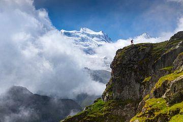 Ruige bergnatuur voor de Grand Combin van