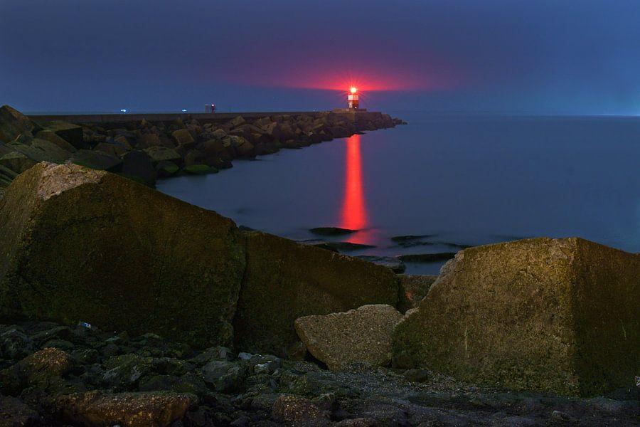Vuurtoren bij zonsondergang