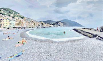 Op het Strand bij het Baaitje van Camogli in Italië aan de Italiaanse Rivièra - Schilderij
