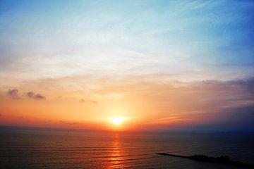 prachtige zonsondergang in een warme zomerse avond, van Gerrit Neuteboom