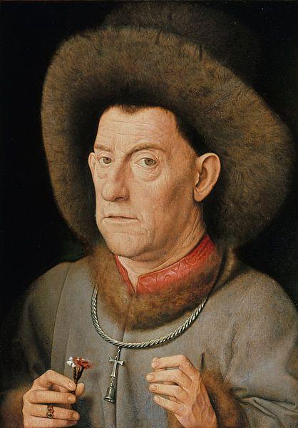 Jan van Eyck - Man met anjer van 1000 Schilderijen