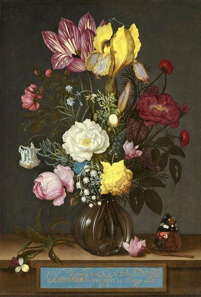 Ambrosius Bosschaert de Oude. Bloemen in een glazen vaas van 1000 Schilderijen