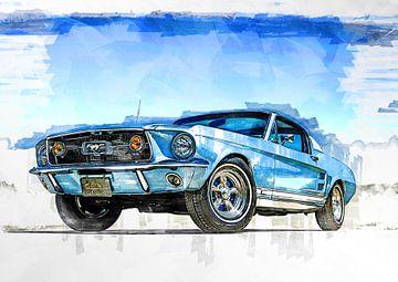 Ford Mustang 1967 schilderij aquarelverf van Bert Hooijer