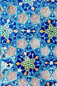Mur en mosaïque bleu azur de la mosquée Juma à Tbilissi, Géorgie