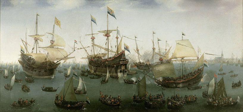 De terugkomst in Amsterdam van de tweede expeditie naar Oost-Indië, Hendrik Cornelisz. Vroom sur Meesterlijcke Meesters