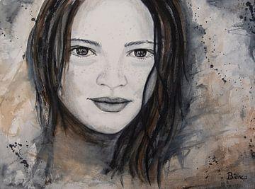 Aquarelle portrait femme sur Bianca ter Riet