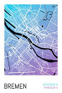 Bremen – City Map Design Stadtplan Karte (Farbverlauf)