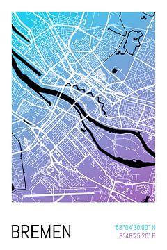 Bremen – City Map Design Stadtplan Karte (Farbverlauf) von ViaMapia