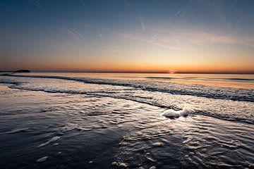 Zonsondergang bij Sankt Peter-Ording aan de Noordzee van Marco de Jong