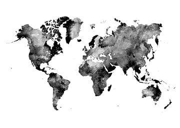 Wereldkaart 37 zwart-wit #kaart #wereldkaart van JBJart Justyna Jaszke