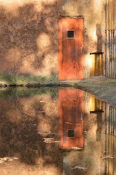 Kleurrijke deur weerspiegeld in het water van Nicolette Vermeulen