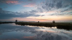 Natuurgebied De Donkse Laagten bij zonsopkomst van Beeldbank Alblasserwaard