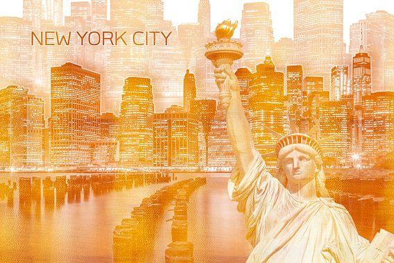 Grafische kunst MANHATTAN Collage | goud