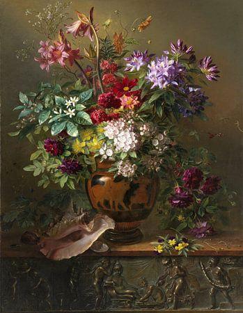 Stilleven met bloemen in een Griekse vaas