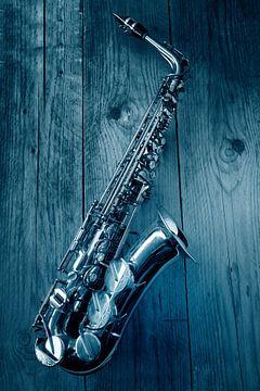 Jazz Saxofoon in blue van Ruurd Dankloff