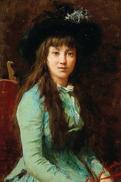 Porträt eines Mädchens mit Federhut
