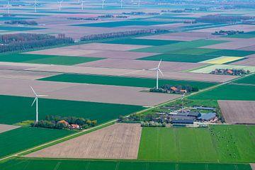 Luftaufnahme einer Windkraftanlage in Flevoland von Sjoerd van der Wal