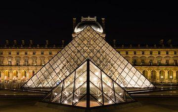 Louvre in avondlicht.