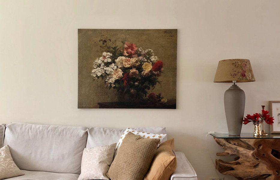 Klantfoto: Henri Fantin-Latour, Zomerbloemen van Meesterlijcke Meesters, op canvas