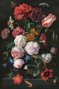 Blumenstrauß in einer Glasvase, Jan Davidsz. de Heem