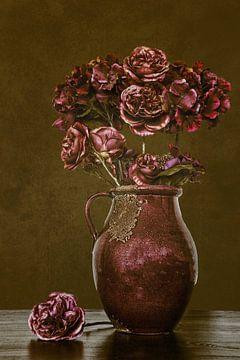 Nature morte de vase avec des fleurs sur Jessica Berendsen