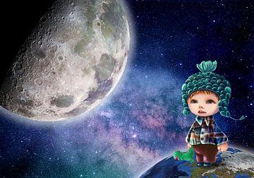 Love you to the Moon & Back. Persoonlijk werk met eigen foto! sur Anouk Muller - Funqy Wall Art