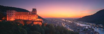 Heidelberg Schloss Panorama Zonsondergang van Vincent Fennis