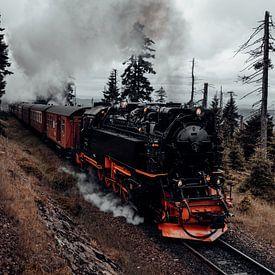 Harzer Schmalspurbahn auf dem Weg zum Brocken van Oliver Henze