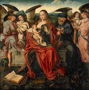 Heilige Familie mit musizierenden Engeln, Meister von Frankfurt