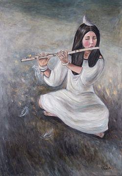 """Mädchen mit der Flöte/""""Silberne Sonate"""" von Veronika Fraile Art"""