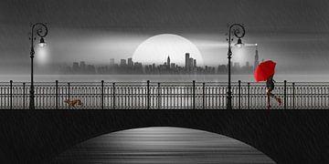 Die Brücke im Sommerregen von Monika Jüngling