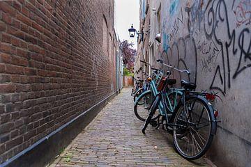 Haarlem, steegje met fietsen van Cilia Brandts