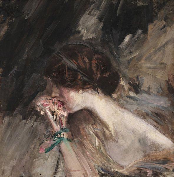 Borstbeeld van een jonge vrouw met een bloem (Anjermeisje; Jeanne), Giovanni Boldini van Meesterlijcke Meesters