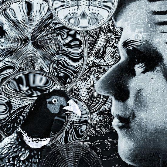 Zelfportret als etalagepop met fazant en bubbels