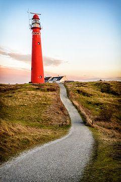 Pfad, der zu einen roten Leuchtturm in den Dünen führt von Sjoerd van der Wal