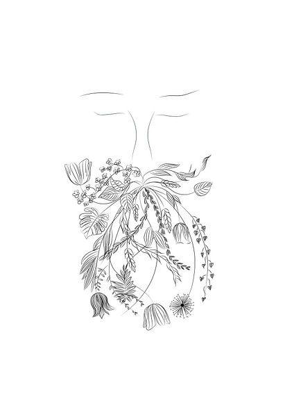 Mann mit Blumen und Pflanzen im Bart - Porträt - schwarz-weiß von Studio Tosca