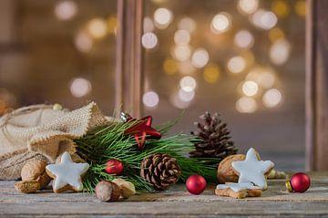 Kerstmis natuurlijke decoratie met stervormige koekjes, noten, dennentak en dennenappels van Alex Winter