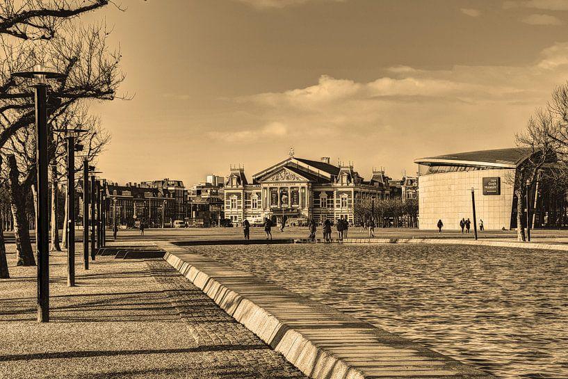Museumplein Van Gogh Museum Concertgebouw Winter Sepia van Hendrik-Jan Kornelis