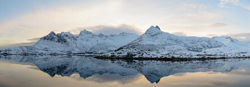Zonsondergang boven een kalm meer op de Lofoten in Noorwegen