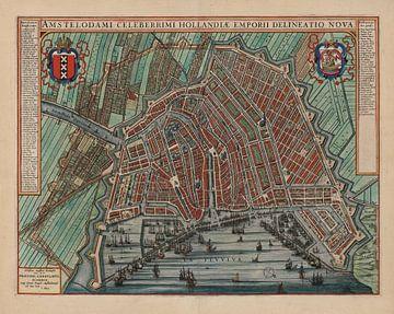 Amsterdam Oude Kaart Plattegrond  van Amsterdam 1652 Stadsgezicht Amsterdam Stadsplattegrond sur