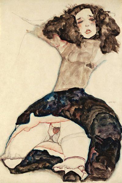 Egon Schiele. Black-Haired Girl with Lifted Skirt van 1000 Schilderijen