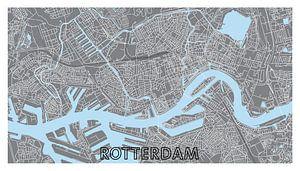 Rotterdam | Stadskaart - Panorama Grijs met stadsnaam van