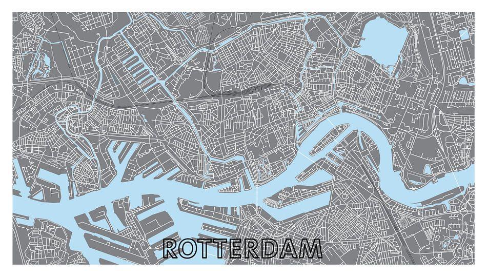 Rotterdam Centrum Plattegrond - Panorama Grijs met Tekst - witte kader