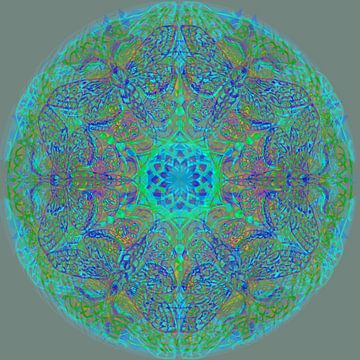 Mandala grafisch, diverse kleuren van Rietje Bulthuis