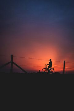 Avond fietser van Marco van den Arend
