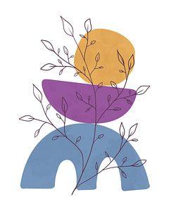 Minimalistisches Stillleben mit einer Blattpflanze in fröhlichen Farben