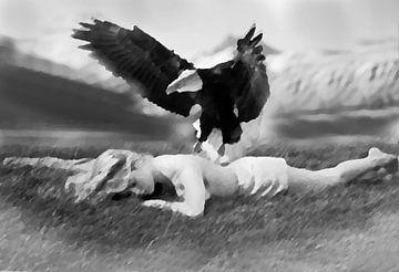 meisje met zee arend-girl with sea eagle-fille avec l?aigle de mer-Mädchen mit Seeadler von aldino marsella