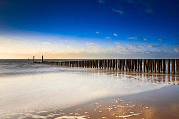 typische golfbreker van houten palen langs de Zeeuwse kust van gaps photography
